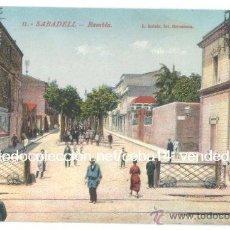 Postales: SABADELL, RAMBLA —FERROCARRIL—. Lote 43540129
