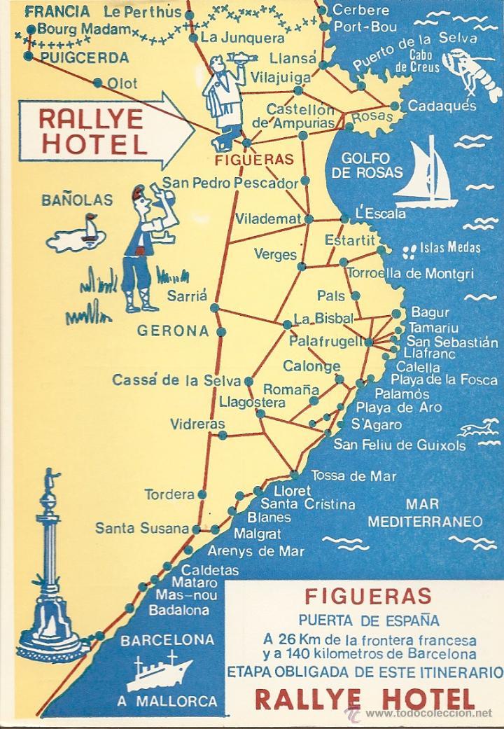 Costa De Barcelona Mapa.Postal Mapa Costa Gerona Figueras Gerona Sin Circular