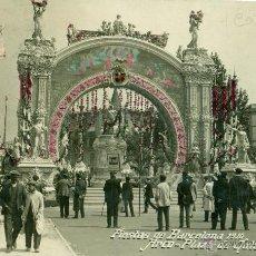 Postales: BARCELONA. FIESTAS DE 1910. ARCO PLAZA CATALUÑA. COLOREADA A MANO.CIRCULADA.. Lote 44819877
