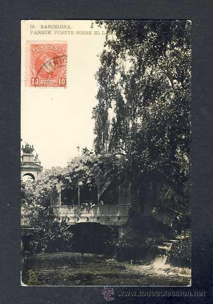 POSTAL DE BARCELONA: PARC, PONT SOBRE EL LLAC. FOTOGRAFICA ANTIGA (LB NUM. 19) (Postales - España - Cataluña Antigua (hasta 1939))