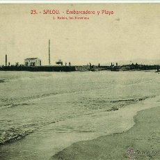 Postales: POSTAL SALOU. EMBARCADERO Y PLAYA CIRCULADA 1923. ROISIN. Lote 45029357