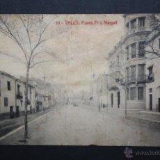 Postales: ANTIGUA POSTAL DE VALLS. TARRAGONA. PASEO PI Y MARGALL. FOTPIA. THOMAS. SIN CIRCULAR. Lote 45400397