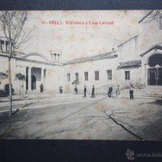 Postales: ANTIGUA POSTAL DE VALLS. TARRAGONA. BIBLIOTECA Y CASA CARIDAD. FOTIA. THOMAS. SIN CIRCULAR. Lote 45402129