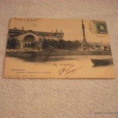 Postales: BARCELONA . ADUANA Y MONUMENTO A COLON .HAUSER Y MENET . CIRCULADA. Lote 45469887