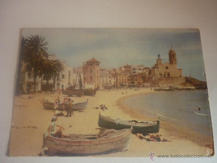 SITGES. PLAYA DE ORO. SIN CIRCULAR. AÑOS 50 FOTÓGRAFO NIKOLAUS REUSS (Postales - España - Cataluña Moderna (desde 1940))
