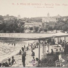 Postales: POSTAL SANT FELIU DE GUIXOLS Nº 14 ROISIN BAÑOS SANT TELM PLAYA. Lote 46018279