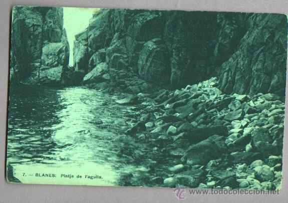 BUENA POSTAL DE BLANES - PLATJA DE L, AGULLA - DE J. MUMBRU Nº 7 - 1924 (Postales - España - Cataluña Antigua (hasta 1939))
