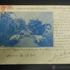 Postales: TARJETA POSTAL DE GERONA 1902 JARDIN DEL GRAN HOTEL DEL COMERCIO. Lote 46406747