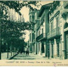 Postales: POSTAL LLORET DE MAR (GIRONA) PASSEIG I CASA DE LA VILA CLIXE MARTINEZ. SIN CIRCULAR. Lote 46461056