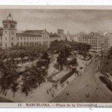 Postales: BARCELONA. PLAZA DE LA UNIVERSIDAD. TRANVÍA.. Lote 46732044