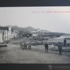 Postales: POSTAL BARCELONA, SITGES. PLAYA DE SAN SEBASTIAN. Lote 47110366
