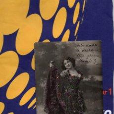Postales: POSTAL ARTÍSTICA EN BLANCO Y NEGRO SEÑORITA CON PEDRERÍA EN COLOR 1936?. Lote 48723034