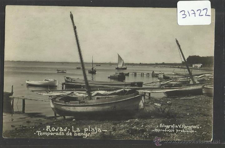ROSES - ROSAS - LA PLAYA - TEMPORADA DE BANYS - FOTOGRAFICA V. FARGNOLI - (31722) (Postales - España - Cataluña Antigua (hasta 1939))