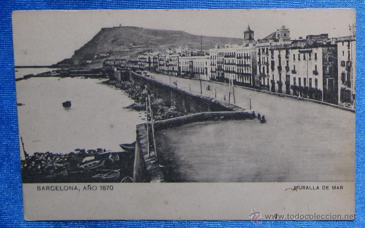 BARCELONA AÑO 1870. MURALLA DE MAR. SANSOT Y MISSÉ HNOS, BARCELONA. (Postales - España - Cataluña Antigua (hasta 1939))