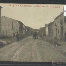 Postales: LA GRANADA - JB 3 - CARRETERA DE LA ESTACION - FOTOGRAFICA - (ZB-2496). Lote 49514910
