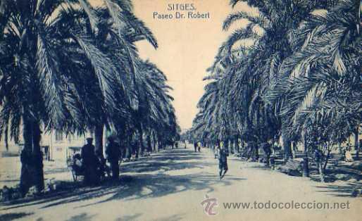 SITGES PASEO DR. ROBERT ESCRITA CIRCULADA SELLO FOTOTIPIA THOMAS (Postales - España - Cataluña Antigua (hasta 1939))