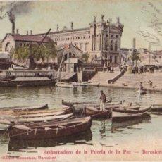 Postales: P- 2067. POSTAL ILUSTRADA BARCELONA. EMBARCADERO DE LA PUERTA DE LA PAZ.. Lote 50203324