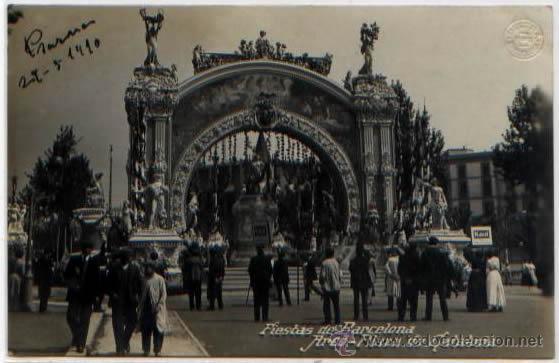 POSTAL FIESTAS DE BARCELONA 1910 ARCO PLAZA DE CATALUÑA SELLO BELTRA (Postales - España - Cataluña Antigua (hasta 1939))