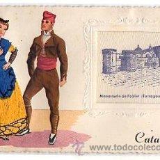 Postales: TARJETA POSTAL REGIONAL CON VESTIDOS EN HILO. MONASTERIO DE POBLET. TARRAGONA. CATALUÑA. AÑOS 50. Lote 50701541