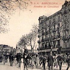 Postales: ANTIGUA POSTAL MUY ANIMADA DE BARCELONA - RAMBLA DE CANALETAS. Lote 51067423