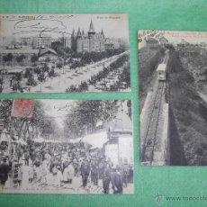 Postales: RARO LOTE ANTIGUA POSTAL BARCELONA GRAN VIA RAMBLA FLORES TIBIDABO FUNICULAR CIRCULADAS. Lote 51100404