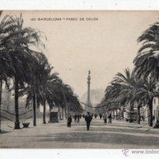 Postales: BARCELONA. PASEO DE COLÓN. ANIMADA.. Lote 51319589