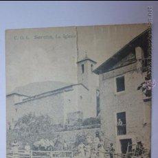 Postales: SERCHS. (BARCELONA). LA IGLESIA. POSTAL CIRCULADA EN 1939. SELLO CON CENSURA MILITAR AL REVERSO. Lote 52434685