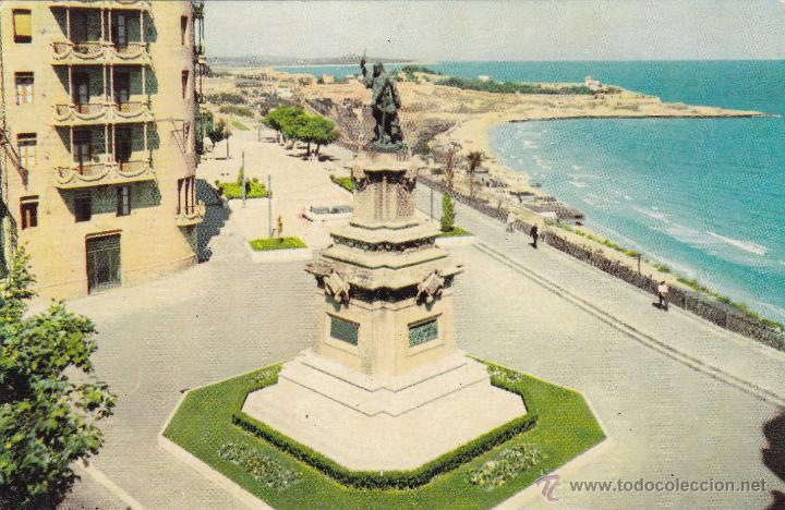 TARRAGONA 24 BALCON DEL MEDITERRANEO Y MONUMENTO A ROGER DE LAURIA CIRCULADA 23/12/57 (Postales - España - Cataluña Moderna (desde 1940))