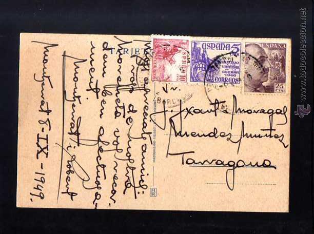 Postales: Postal de Montserrat. 1949. Circulada - Foto 2 - 53026702
