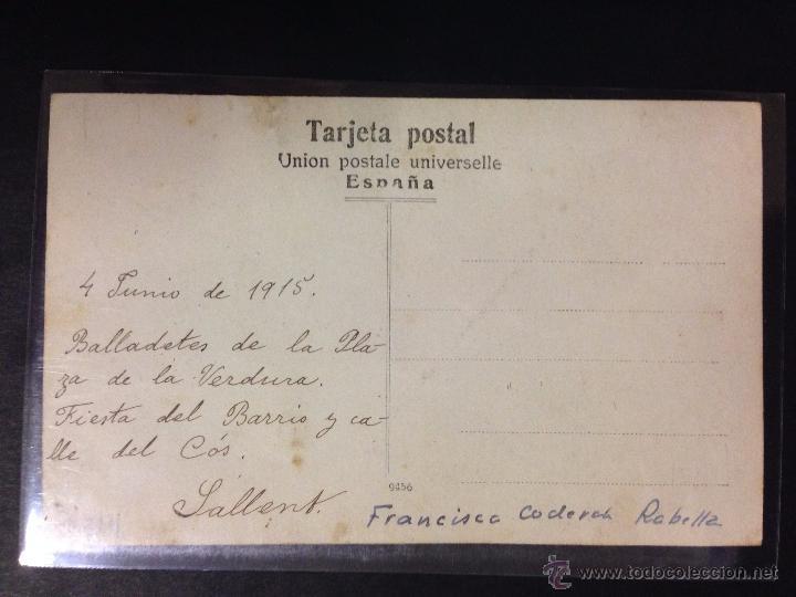 Postales: SALLENT - BALLADETES DE PLAÇA DE LA VERDURA - FESTA DEL BARRI 1915 - FOTOGRAFICA - (39064) - Foto 2 - 53067202