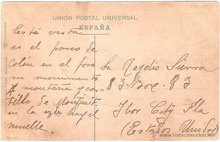 Postales: Barcelona Paseo de Colón 1909 - Foto 2 - 27567571