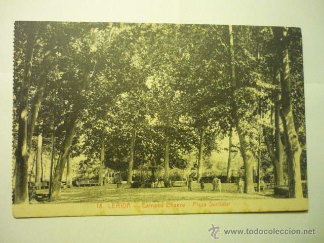 POSTAL LERIDA CAMPOS ELISEOS- PL.SURTIDOR BB (Postales - España - Cataluña Antigua (hasta 1939))