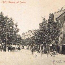 Postales: POSTAL 12. VICH. RAMBLA DEL CARME. CA. 1910. FOTOTIPIA THOMAS (1040). SIN CIRCULAR. Lote 53749407