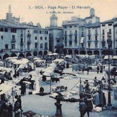 Postales: VICH (BARCELONA).- PLAZA MAYOR.-EL MERCADO. Lote 53905984