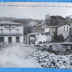 Postales: SENTERADA ENTRADA AL PUEBLO Y PUENTE SOBRE EL RIO SARROCA. S G M. POSADA DE JOSE GALLART, LÉRIDA. Lote 54056989