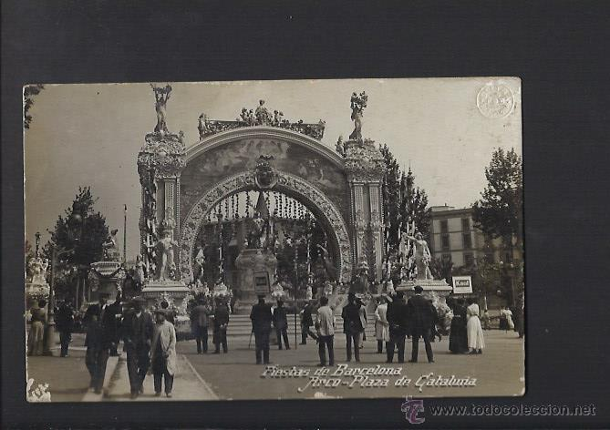 POSTAL FOTOGRÀFICA DE BARCELONA. FIESTAS DE BARCELONA. ARCO PLAZA DE CATALUNYA (Postales - España - Cataluña Antigua (hasta 1939))