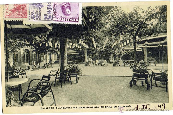 PS6053 BALNEARIO BLANCAFORT 'PISTA DE BAILE EN EL JARDÍN'. RIEUSSET. CIRCULADA. 1949 (Postales - España - Cataluña Moderna (desde 1940))