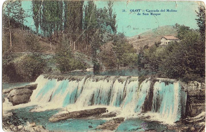 PS5659 OLOT 'CASCADA DEL MOLINO DE SAN ROQUE'. ANDRÉS FABERT. 1919 (Postales - España - Cataluña Antigua (hasta 1939))