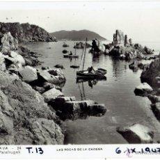 Postales: PS5273 CALELLA DE PALAFRUGELL 'LAS ROCAS DE LA CADENA'. FOTOGRÁFICA. CIRCULADA EN 1947. Lote 46150713