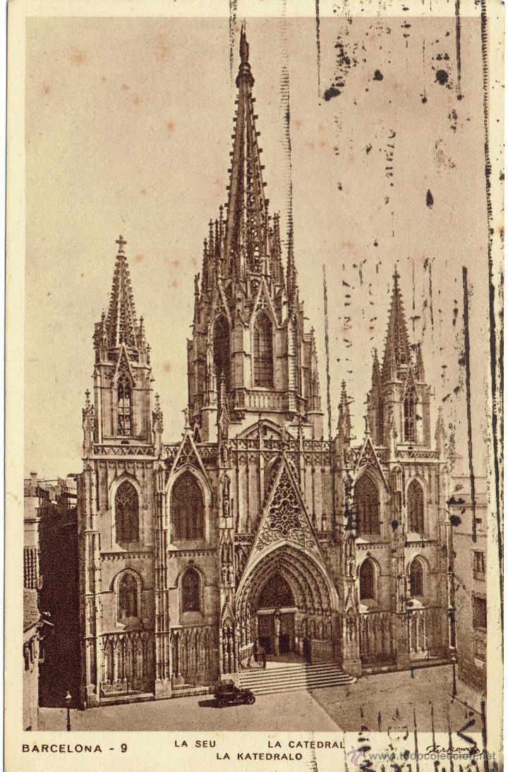 PS5331 BARCELONA 'LA CATEDRAL'. ZERKOWITZ. CIRCULADA EN 1936 (Postales - España - Cataluña Antigua (hasta 1939))