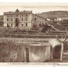 Postales: PS6432 S. FELIU DE CODINES 'CASA BENEFICENCIA Y FUENTE PETXINA'. C. NAVARRO. SIN CIRCULAR. AÑOS 30. Lote 54941437