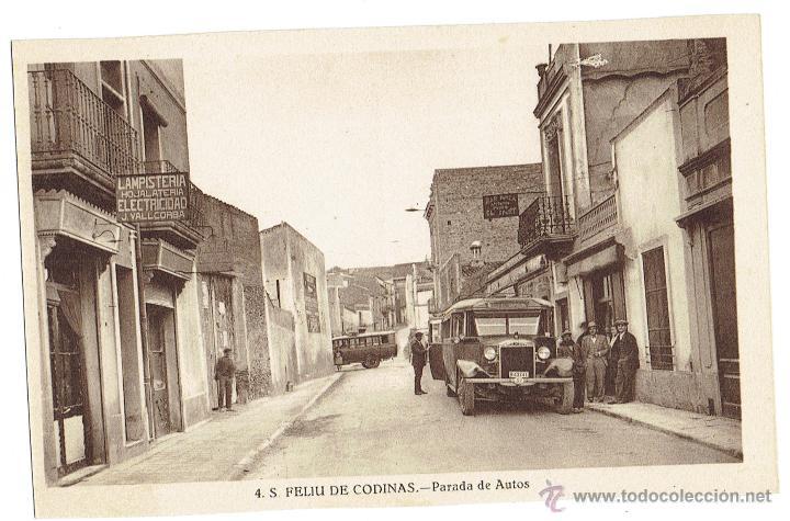 PS6435 S. FELIU DE CODINES 'PARADA DE AUTOS'. C. NAVARRO. SIN CIRCULAR. AÑOS 30 (Postales - España - Cataluña Antigua (hasta 1939))