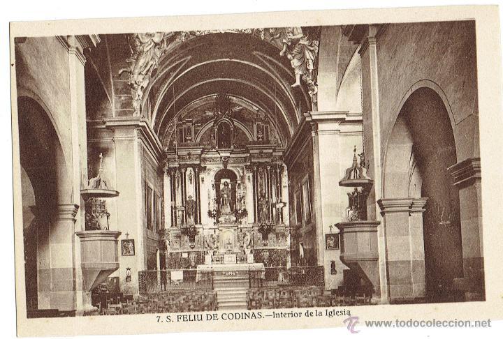 PS6437 S. FELIU DE CODINES 'INTERIOR DE LA IGLESIA'. C. NAVARRO. SIN CIRCULAR. AÑOS 30 (Postales - España - Cataluña Antigua (hasta 1939))