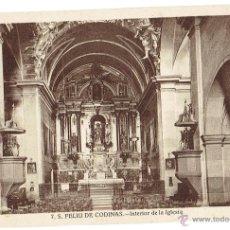 Postales: PS6437 S. FELIU DE CODINES 'INTERIOR DE LA IGLESIA'. C. NAVARRO. SIN CIRCULAR. AÑOS 30. Lote 54941832