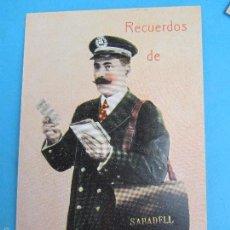 Postales: CARTERO VISELADO , RECUERDOS DE SABADELL , BARCELONA , UNION POSTALE UNIVERSELLE , AÑOS 20-30. Lote 63021371