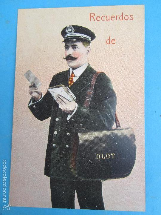 CARTERO VISELADO , RECUERDOS DE OLOT , GERONA , UNION POSTALE UNIVERSELLE , AÑOS 20-30 (Postales - España - Cataluña Antigua (hasta 1939))