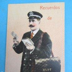 Postales: CARTERO VISELADO , RECUERDOS DE OLOT , GERONA , UNION POSTALE UNIVERSELLE , AÑOS 20-30. Lote 60649646