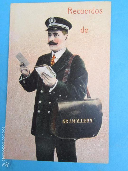 CARTERO VISELADO , RECUERDOS DE GRANOLLERS , UNION POSTALE UNIVERSELLE , AÑOS 20-30 (Postales - España - Cataluña Antigua (hasta 1939))