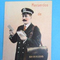 Postales: CARTERO VISELADO , RECUERDOS DE GRANOLLERS , UNION POSTALE UNIVERSELLE , AÑOS 20-30. Lote 70468623