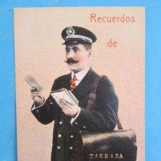 Postales: CARTERO VISELADO , RECUERDOS DE TARRASA , UNION POSTALE UNIVERSELLE , AÑOS 20-30. Lote 55980703
